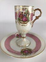 Vintage Lusterware Tall-Demitasse Courting Couple Tea Cup & Saucer ARNART