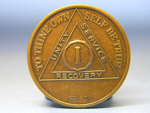ALCOHOLICS ANONYMOUS YEARLY ANNIVERSARY CHIP BRONZE MEDALLION -1 TO 60 YEARSS