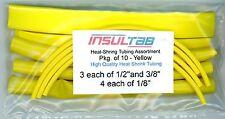 "Heat Shrink Tubing Assortment- Pkg 10 - Insultab Yellow- 1/2"", 3/8"" and 1/8"""