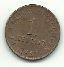 HIGH GRADE AU + RED/BROWN 1921 PORTUGAL 1 CENTAVO COIN WITH DIE CRACK-APR181