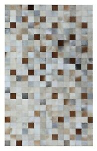 Cowhide Multi Patchwork Box Carpet Home Area Rug Hand Made New Leather hair