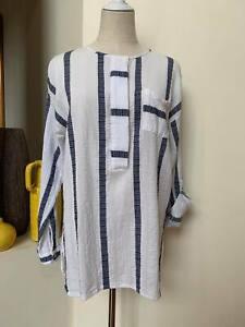 [ YARRA TRAIL ] Womens L/sleeve Lightweight Blouse | Blue/White Stripe | Size 14