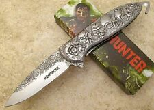 Zombie Spring Assisted Tactical Z-Hunter Silver Skull Open Folding Pocket Knife