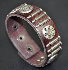 Men's Cool Bullet & Flower Studded Genuine Leather Bracelet Wristband Brown