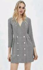 ZARA NEW GREY CHECK WRAP CROSSOVER DRESS SIZE XS