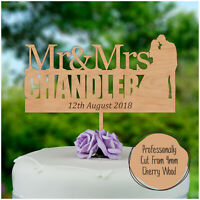 PERSONALISED Rustic Wooden Wedding Cake Topper Mr & Mrs Cake Decoration Keepsake