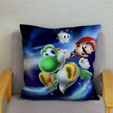 Mario Yoshi Plush Cushion Cover Retro Art Super Nintendo Classic Gaming Decor