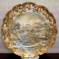 Japanese Meiji Imari Satsuma Kutani Kawamoto Porcelain Plate River Village #1