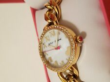 BETSEY JOHNSON Women's Gold-Tone Stainless Steel Link Watch NEW**