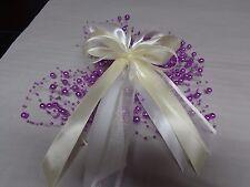 10 Schleifen mit Perlenband ~Weiß//Lila #6 Kirchenschleifen Spiegelschleifen