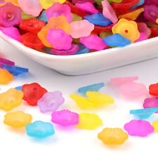 200 Random Transparet Acrylic Flower Beads Textured Frosted Colorful Caps 11mm