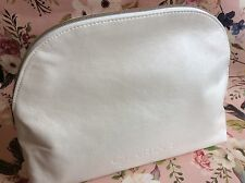 Clarins Paris large pearlised cream zip pull beauty purse/ cosmetic bag new
