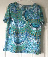 Van Heusen Top Size Large Women's Blue Multicolor Short Sleeve Shirt