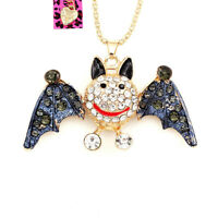 Betsey Johnson Enamel Crystal Cute Bat Pendant Sweater Chain Animal Necklace