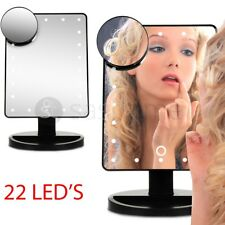22 LED Make up Mirror 10 X Magnifying Touch Screen Cosmetic Tabletop Vanity 180°