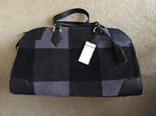 Adam Lippes Target Black & Grey Plaid Shearling Travel Duffle Bag Luggage NEW
