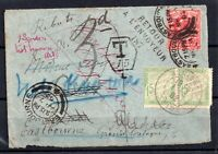 1902 KEVII Cover to France, Multi Cachet, Redirected Postage Due WS18026