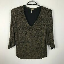 Susan Lawrence Blouse Plus Size 2X Black Gold Paisley Floral 3/4 Ruffled Sleeves
