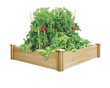 4 x 4 Ft. Cedar Raised Garden Bed Vegetable Herb Flower Wood Plant Planter Kit
