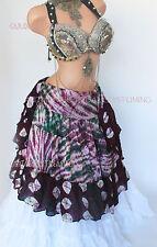 Burgandy & Green Wrap Skirt Gypsy Tribal Fusion Belly Dancel ATS
