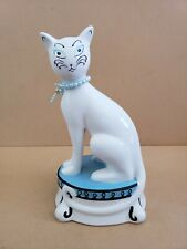 Bombay Porcelain Cat Piggy Bank Blue White Pedestal Made in China