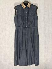 Gucci Denim Chambray Western Pearl Snap Dress Python Collar Size 46 Sample