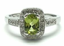 10k White Gold Faceted Green Peridot Diamond Halo Cocktail Band Ring Sz. 7