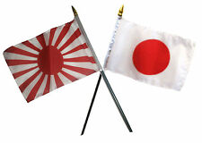 "Japan Country & Japan Battle Rising Sun Flags 4""x6"" Desk Set Table Gold Base"