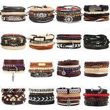 Men's Bracelet Accessory Leather Bead Twine & Metal Charm Mixed Wristband Men UK