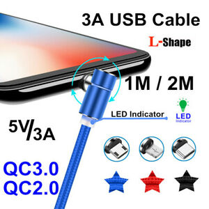 L-Shape Magnetic 3A Micro USB C LED Fast Charging Data Cable For iPhone Samsung