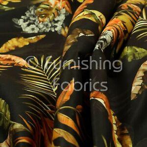 Full Black Rustic Leaf Pattern Printed Velour Velvet Upholstery Curtain Fabrics