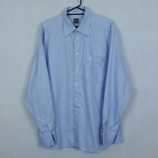 ETON Vtg Mens Blue Striped Cufflings Long Sleeve Cotton Collared Shirt SIZE XL
