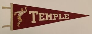 Beautiful Antique 1930's Temple University Football Pennant Vintage Early Old