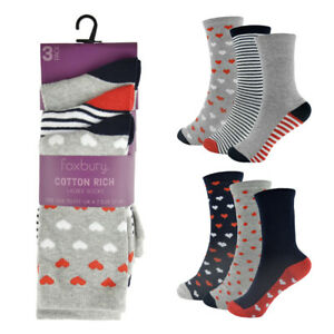 Ladies 3 Pairs of  cotton rich Hearts & stripes Grey mix socks  shoe size 4-7