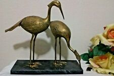 Brass Heron Crane Bird Hollywood Regency Figurine on Black Marble Base RELISTED
