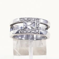 Silver Band Engagement Ring W/ Cz Sz 6.5, Sterling Silver Ring, 925