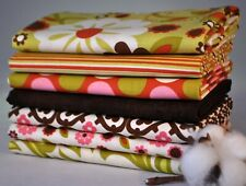 Indian Summer Green 7 Fabric Fat Quarters by Zoe Pearn for Riley Blake, 1.75 yds