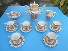 CHINA TEA SET GORGEOUS! NEW TEA POT SAUCERS CUPS CREAMER SUGAR COLLECTIBLE