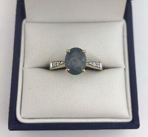 Gorgeous 9ct Gold, Grey/Blue Gem & Diamond Ring. Size N1/2