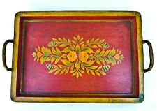 Vintage Hand Painted Wood Toleware Large Decorative Serving Tray Metal Handles