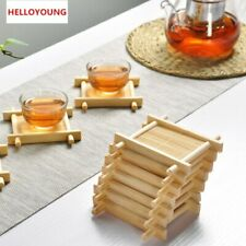 Tray 1Pc Bamboo Pad Tea Trays 7cm*7cm Creative Chinese Wood Jing Concave Cup Mat
