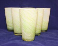 6 Hand Blown White w/ Green Swirl Cased Art Glass TUMBLERS Coolers