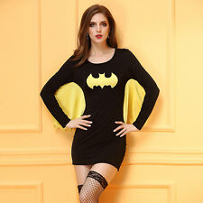 Ladies Batman Costume Woman Super Hero Adult Halloween Fancy Dress