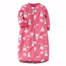 Carter's Pink Fleece Snowman Sleepsack Sleeper Infant Baby Girl 0-9 Months NEW