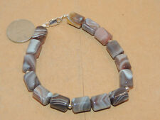 "Sterling Silver and 12x9mm Botswana Agate Bracelet 8 1/2"" (13361)"