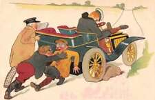 Greetings Old Auto Flat Tire Antique Postcard J72258