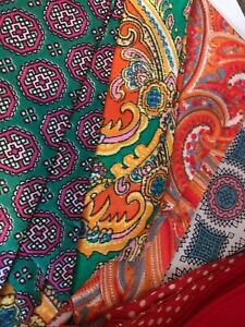 Vintage Scarves Scarf Silk Rayon Paisley Red Dots For Neck Tie Or Hair Band
