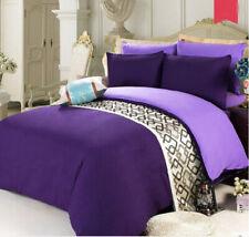 Dark Purple Queen Size Bed Sheet + Quilt Cover + Pillow Case Bedding Bed Set #