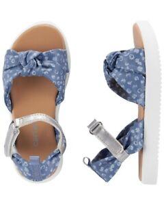 "NEW Carter's Chambray Platform Sandals Girls Size 6 (12-24 months) 5.13"""