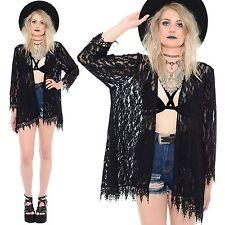 Vtg 90s Black SHEER LACE Long Kimono Dress Jacket Top Grunge Goth Witchy Gypsy